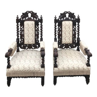 Late 19th Century Antique French Fireside Throne Chairs-a Pair For Sale