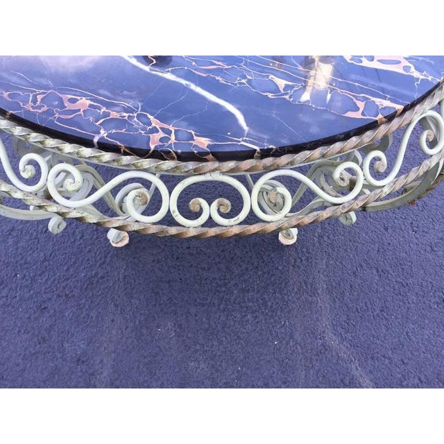Marble Painted Wrought Iron Marble-Top Coffee Table For Sale - Image 7 of 7