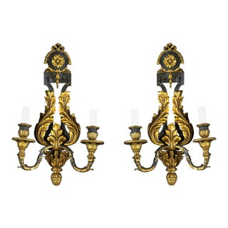 1900s Caldwell Neoclassical Gilt Bronze Sconces - a Pair For Sale