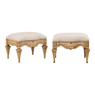 Vintage Italian Style Carved Ash Wood Upholstered Stools - a Pair For Sale
