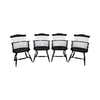 Duckloe Brothers Black Windsor Arm Chairs - Set of 4 For Sale