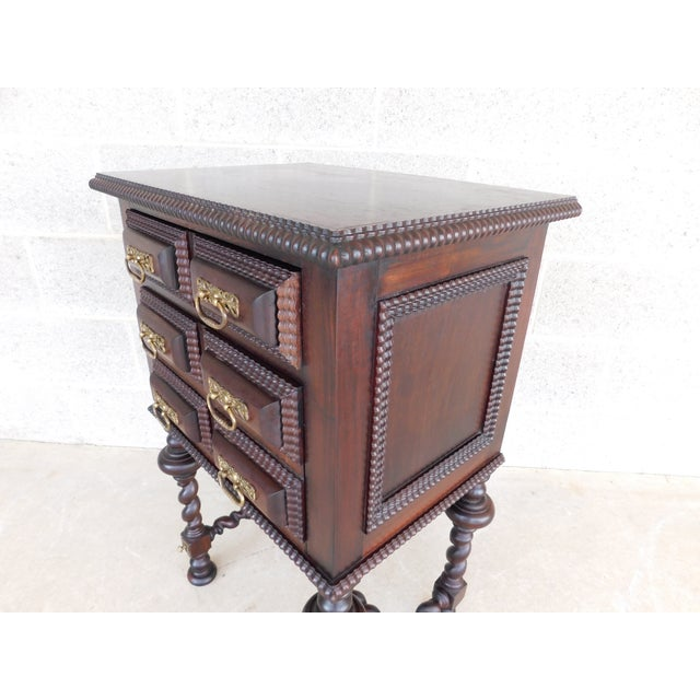 Coffee Antique Spanish Baroque Style Mahogany Nightstand End Table For Sale - Image 8 of 13