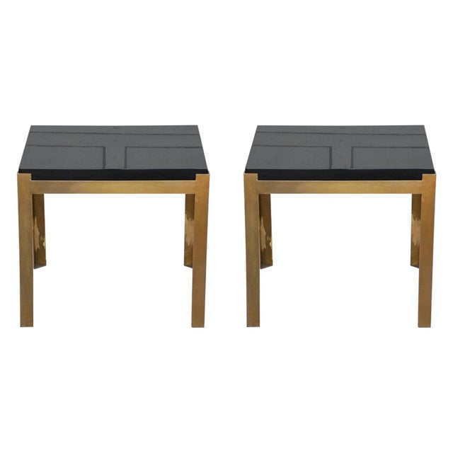 Metal Contemporary Design Frères 'Caisson' Lacquer and Patinated Brass Side Tables - a Pair For Sale - Image 7 of 7