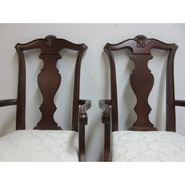 2000s Pennsylvania House Cherry Shell Carved Dining Room Arm Chairs - Set of 4 For Sale - Image 5 of 11