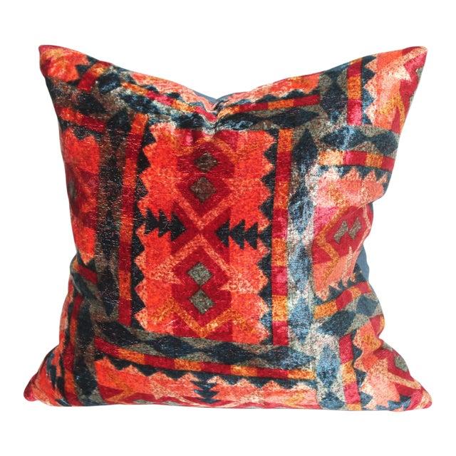 Patterned Velvet Pillow For Sale