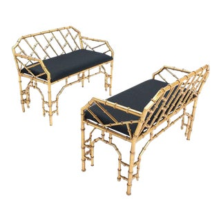 Early 20th Century Vintage Gold Gilt Metal Faux Bamboo Upholstered Window Benches- A Pair For Sale