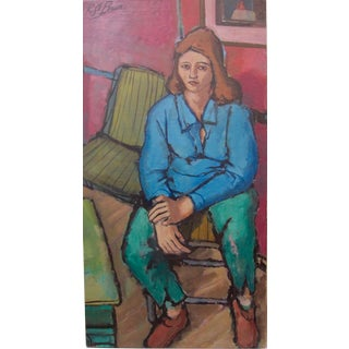 1950s Vintage Rico Lebrun Seated Woman Oil Painting For Sale