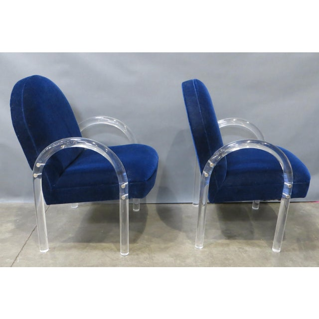 Hollywood Regency Pair of Pace Collection Lucite Waterfall Dining or Side Chairs Circa 1980 For Sale - Image 3 of 12