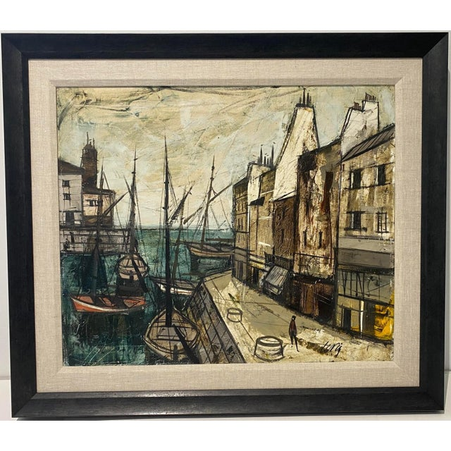 Mid-Century Modern Charles Levier Painting of French Port Scene With Boats For Sale - Image 11 of 12