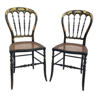 Late 19th Century Vintage Napoleon III Side Chairs- A Pair For Sale