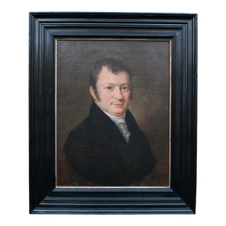 Portrait of a Dutch Gentleman Oil Painting on Canvas in Ebonized Frame, Circa 1815 For Sale