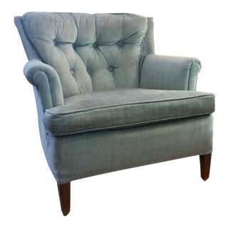 1960s Hollywood Regency Light Blue Velvet Tufted Lounge Chair For Sale
