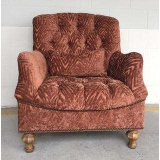 Transitional Thomasville Cinnabar Cut Velvet Tufted Club Chair Preview
