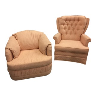 Mid-Century Upholstered Rocker and Lounge Chair - A Pair For Sale
