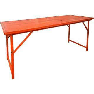 Orange Vintage Wood and Steel Frame Folding Table For Sale