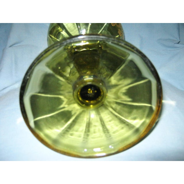 Antique Hand Painted Blown Glass Loving Chalice For Sale - Image 10 of 11