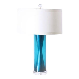 Blue Marbro Swedish Glass Lamp, C. 1950 For Sale