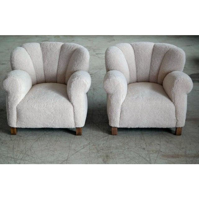 Pair of Danish Fritz Hansen Model 1518 Large Size Club Chair in Lambswool, 1940s For Sale - Image 10 of 10