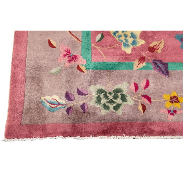 Pink Early 20th Century Antique Art Deco Chinese Wool Rug For Sale - Image 8 of 11