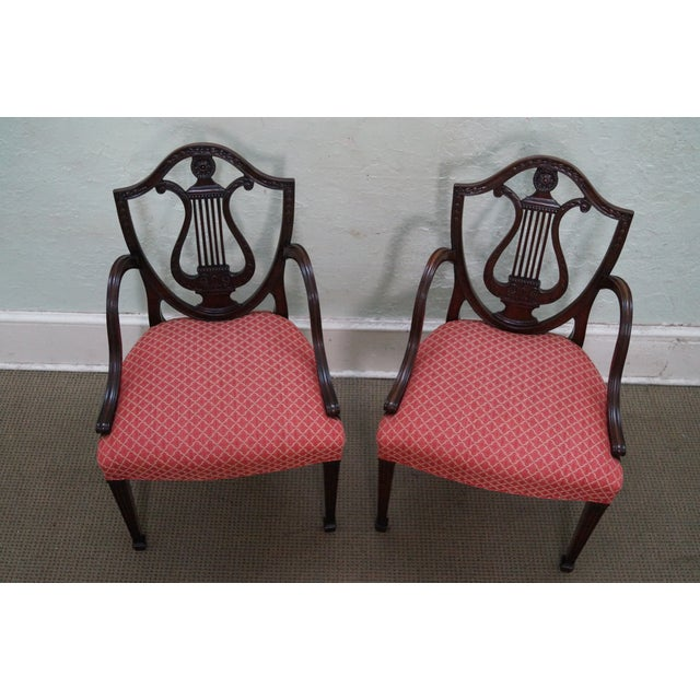 Mahogany Adams Carved Shield Back Chairs - A Pair - Image 2 of 10