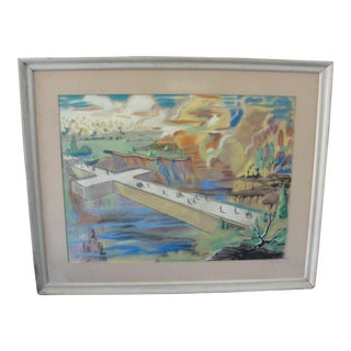 "Vintage Don Anderson ""Way of the Cross"" Surreal Pastel Drawing For Sale"