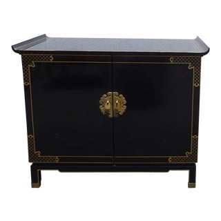Vintage Oriental Asian Black Cabinet Entry Table Mid Century Modern For Sale