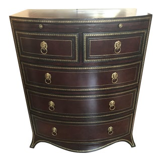 Maitland-Smith Bow Front Leather Covered Dresser