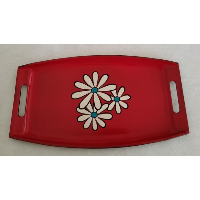 20th Century Pop Art Red Lacquer Serving Tray With Daisies For Sale In Phoenix - Image 6 of 7
