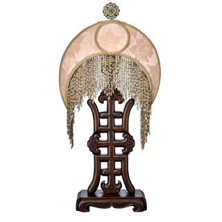 Antique Oriental Carved Wood Table Lamp With Silk Shade With Beaded Tassles For Sale