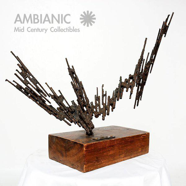 For your consideration a brutalist sculpture by Stanyo Kaminsky. Bronze label dated 1977. Stamped with makers initials...