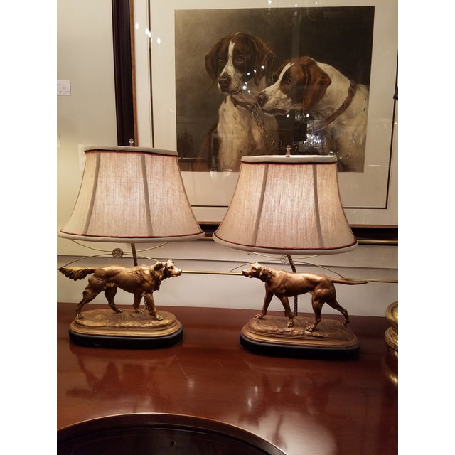 Bronze Finished Sporting Dogs Mounted Lamps With Custom Shades - a Pair For Sale - Image 5 of 5