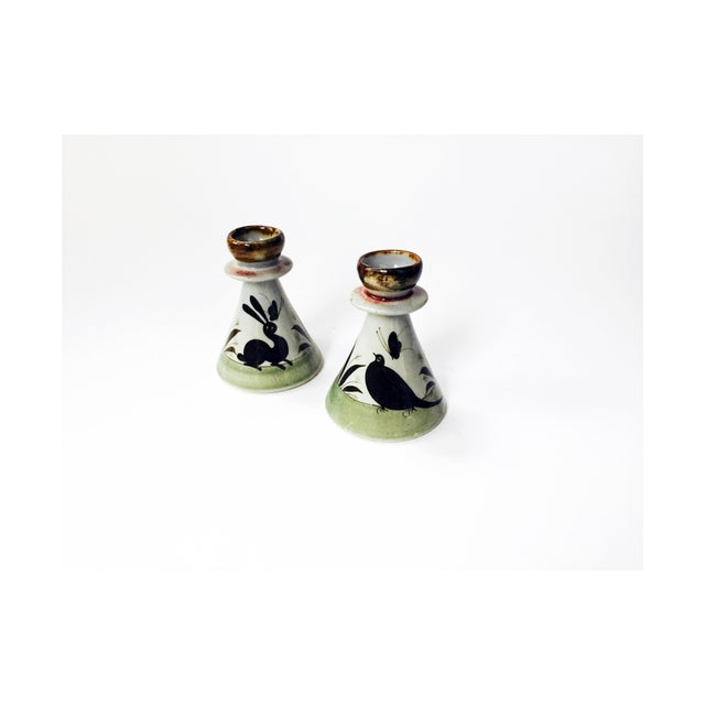 Vintage Mexican Pottery Candle Holders - Set of 2 - Image 2 of 5