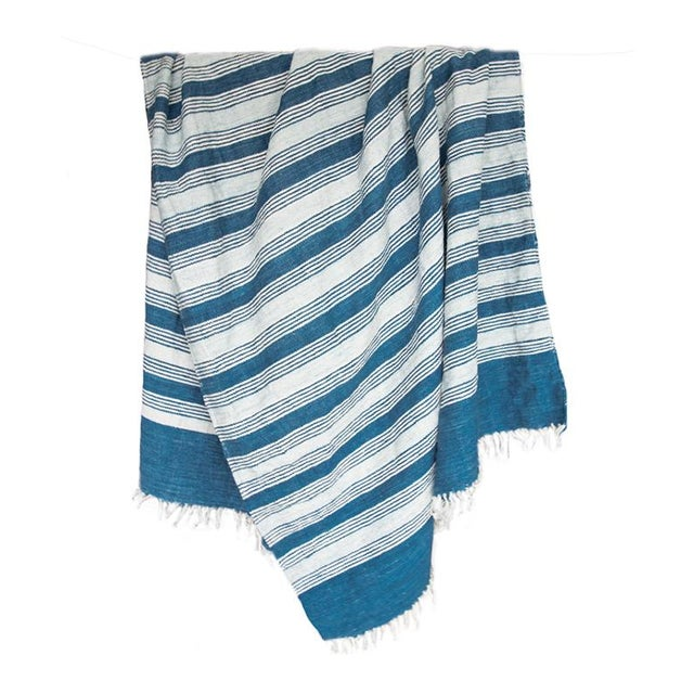 Blue & White Handwoven Striped Rug - 5′ × 8′6″ - Image 1 of 5