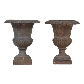 Antique 19th-Century Cast Iron Urns- a Pair