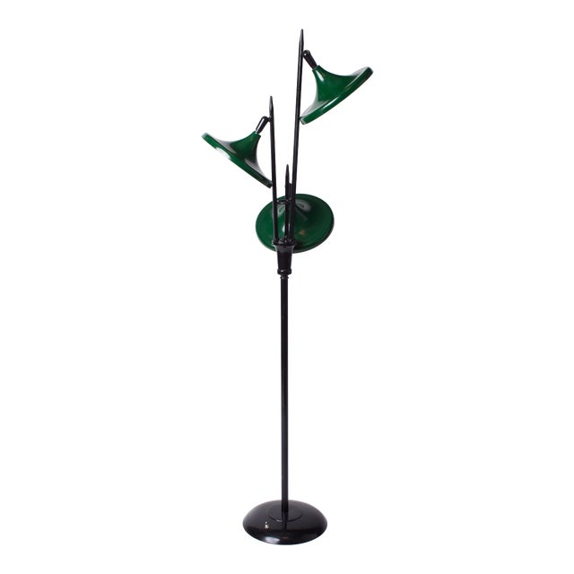 1950s Vintage Gerald Thurston for Lightolier Mid Century Modern Lacquered Metal Triennale Floor Lamp For Sale