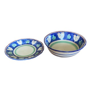 Vietri Italian Hand Painted Bowl & Round Platter Serving Set- Enormous -Great Family Style For Sale