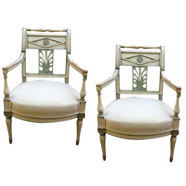 Pair of French Empire Painted Fauteuil Chairs For Sale
