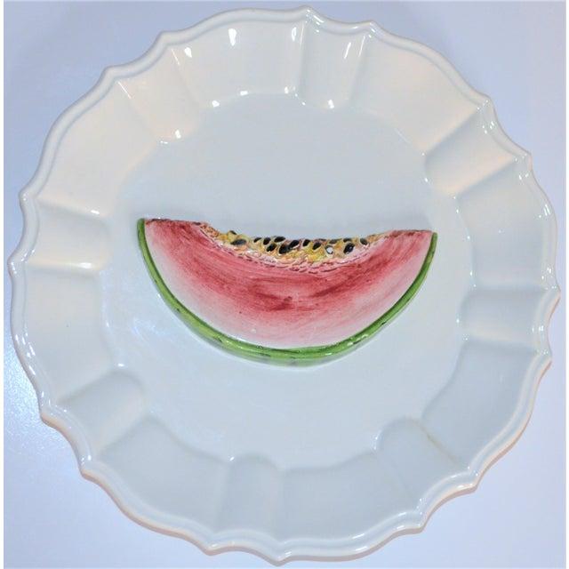 1970s (Final Markdown) 1970's Majolica Italian Trompe l'Oeil Melon Plate For Sale - Image 5 of 7