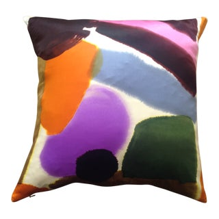 Pure Silk Pillow Cover of Multi-Color Paintbrush Strokes For Sale