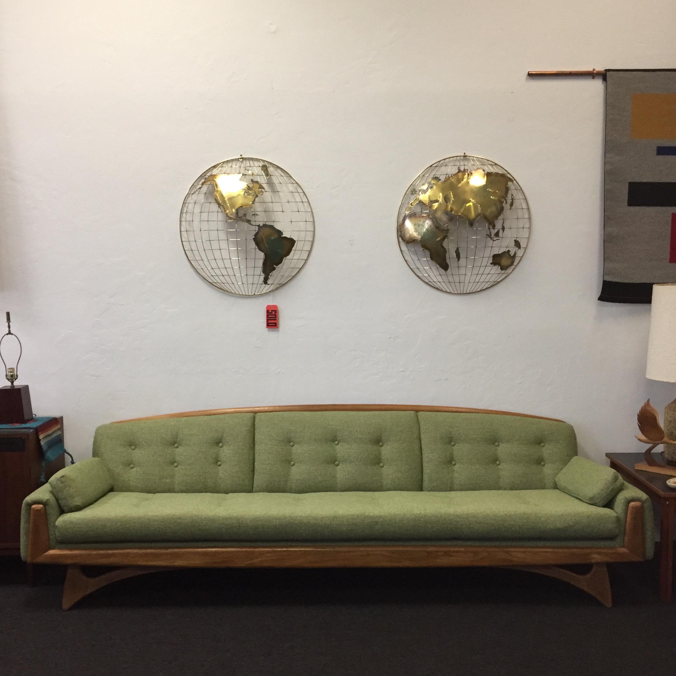 Mid Century Modern Kroehler Green Tweed Sofa For Sale   Image 3 Of 11