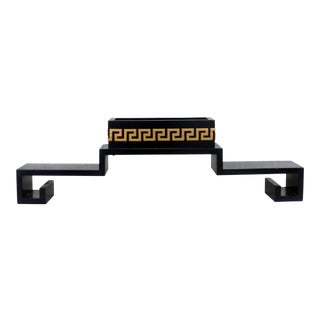 Vintage Black Lacquer Reversible Pagoda Wall Shelf With Gold Key Accent