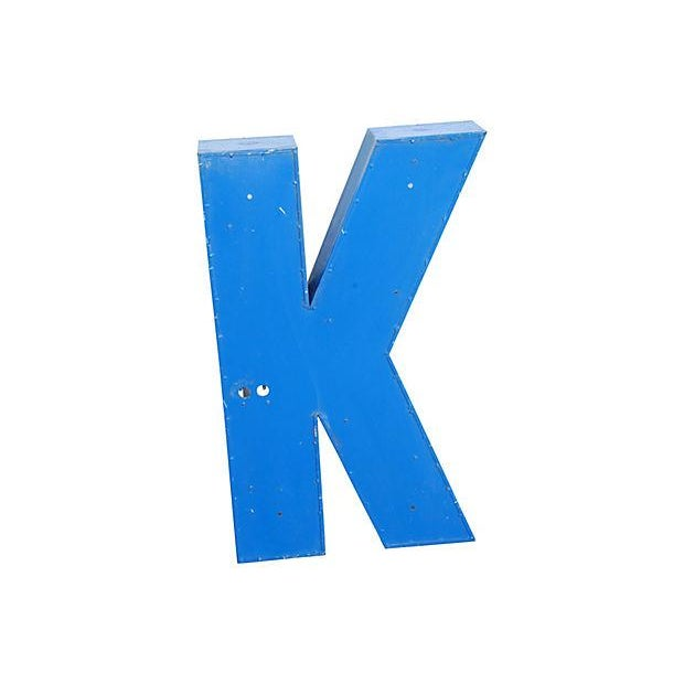Lg. Industrial Blue & White Metal Marquee Letter K - Image 5 of 6