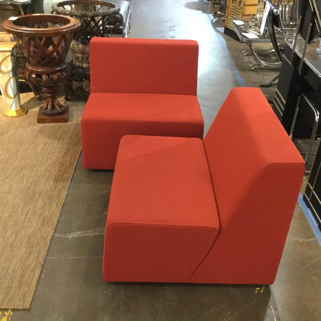 Pair of vintage armless chairs by Steelcase. Original Chinese Red fabric. Very comfortable. Steelcase is a commercial...