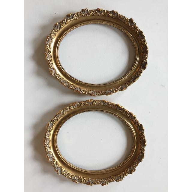 Wood Vintage Oval Gold Wood Frames - A Pair For Sale - Image 7 of 7