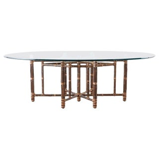 Genuine McGuire California Modern Rattan Oval Dining Table For Sale