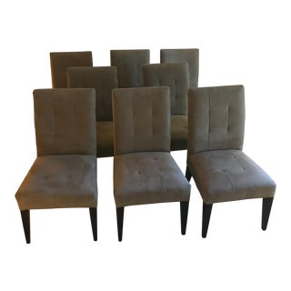 Crate and Barrel Ultra Suede Dining Room Chairs - Set of 8 For Sale