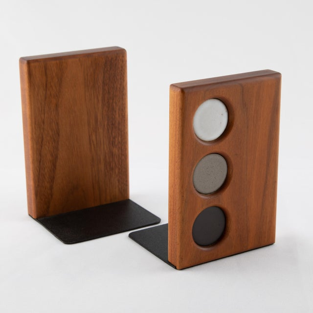 Marshall Studios 1960s Ceramic and Walnut Bookends by Gordon and Jane Martz for Marshall Studios - a Pair For Sale - Image 4 of 12