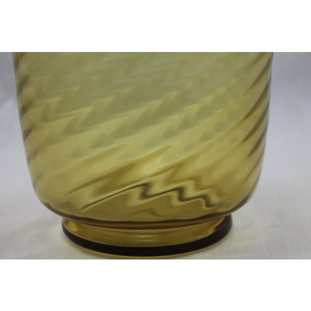 Stunning Art Deco Steuben Glassworks Amber Colored Swirl Vase For Sale In Miami - Image 6 of 9