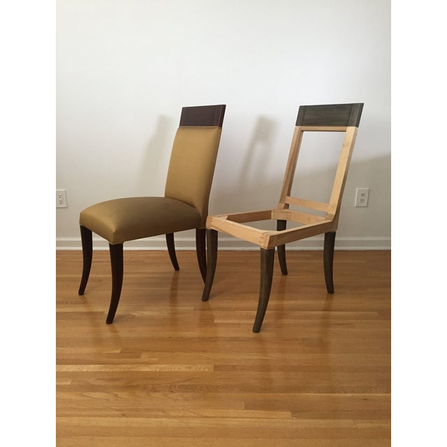 Sergio Savarese Dialogica High Back Wood and Fabric Dining Chairs - Set of 6 For Sale - Image 9 of 13