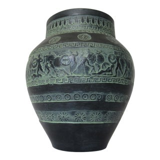 C.1960-70s Greek Handmade Amphora Terra-Cotta, Verdigris Patina Greek Key & Trojan Warriors Display Vase For Sale